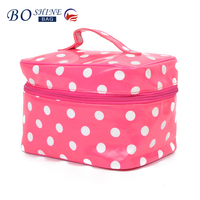Custom ladies waterproof leather pouch bag for cosmetics makeup train case with handle and dot print for travel