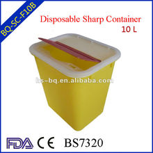 small plastic medical sharps container