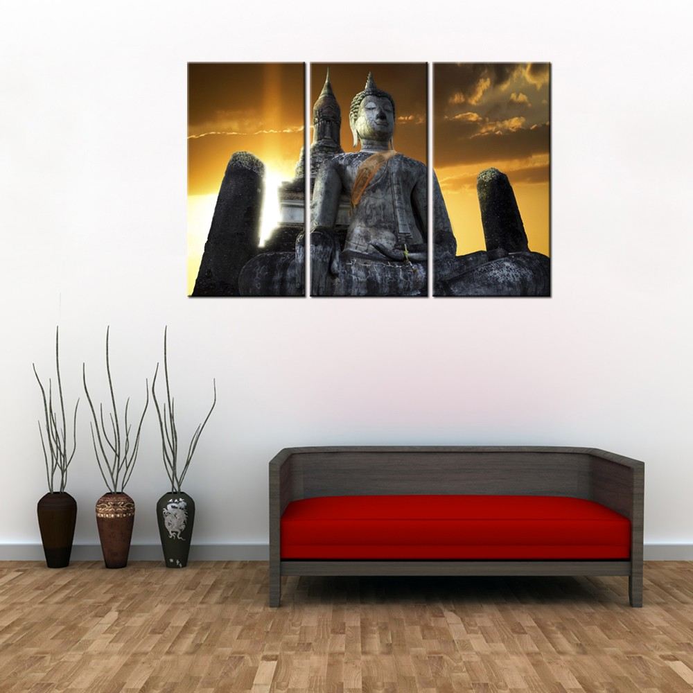 Modern Fashion Buddhism Decor Canvas Painting/Thai Buddhist Portrait Canvas Printing/Seated Buddhist Statue Canvas Print 3 Panel