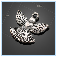 Exquisite Wicker Pattern Wings Long Dress Love Angel Pendant Charm