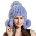 CX-C-165B New Stylish Women Fashion Fox Ball Mink Fur Knitted Cap