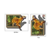 Colorcasa removable wall sticker PVC wall paper ZYPB8001 tiger in the forest 3D wall sticker art home decor for kids room