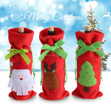 Wine Champagne Drink Bottle Cover Bag Christmas Table Party Decoration Ornament