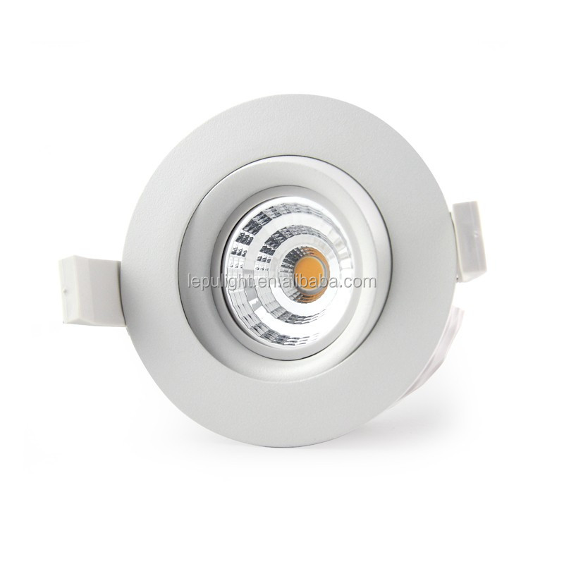 99Ra Norge 83mm cutout 360deg tilt rotation gyro cob led downlight 2000k-2800k dim to warm directly installation in insulation