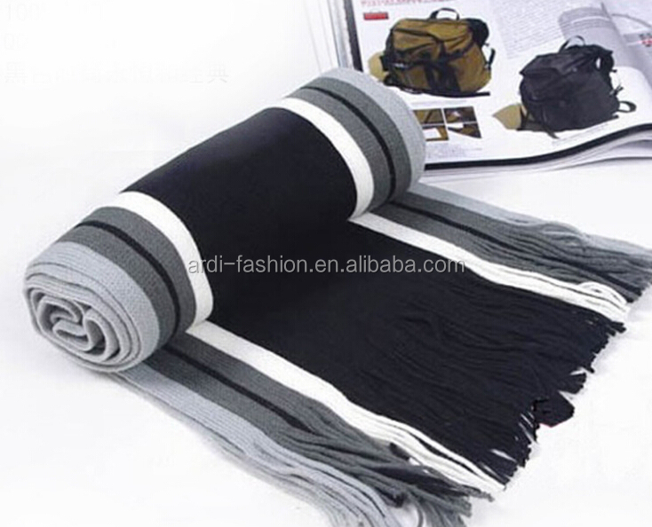 vertical stripe knit scarf mens knit striped scarf black & white striped scarf