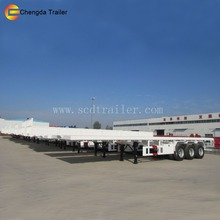 3 axle flatbed container semi trailer , Heavy duty 40 ton truck and trailer for sale