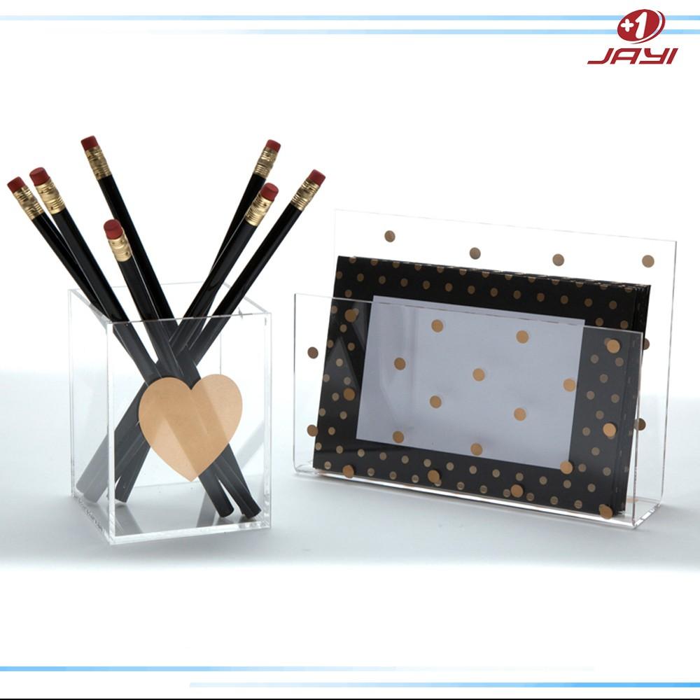 Custom Print Logo Transparent Pen Display Stand Pen Holder