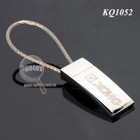 Square Shaped Promotion Laser Logo Metal Custom Steel Wire Key Chain