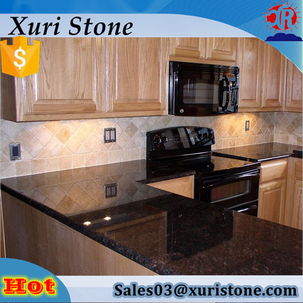 Prefab Kitchen Polished India Tan Brown Granite Countertops