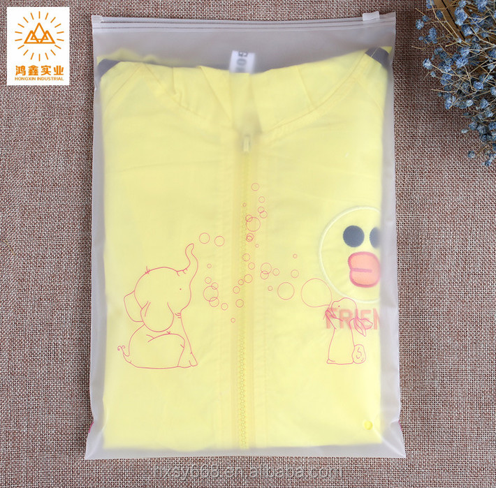 CPE plastic zipper clothes bag with frosted Ziplock bag