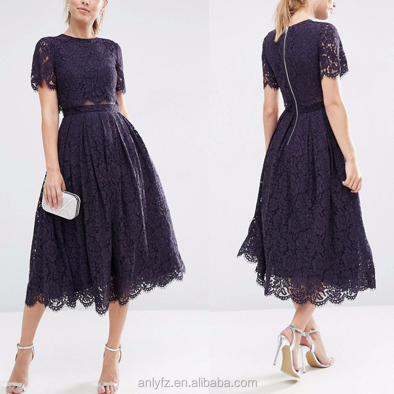 new fashion design short sleeve crop top elegant purple lace long wedding prom dress for ladies