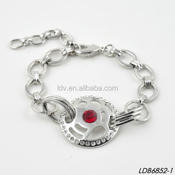 Ruby Charm Link and Chain Cuff Bracelet