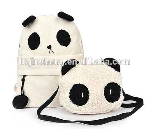 polyester fashion white color panda backpack for promotion