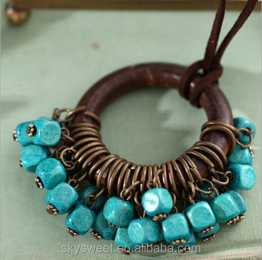 Tribal Chic wooden pearls necklace design,fashion accessories catalogs to buy in china(SWTPR1368)