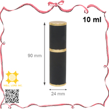 10ml delicate black leather wrapped cylinder purse perfume sprayer