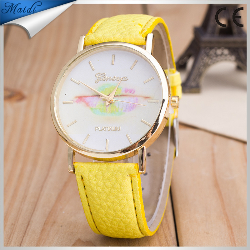 Alibaba Hot Geneva Brand Flower Leather Watches Lady Girl Dress Relogio Analog Quartz Vogue Wrist Watches GW097