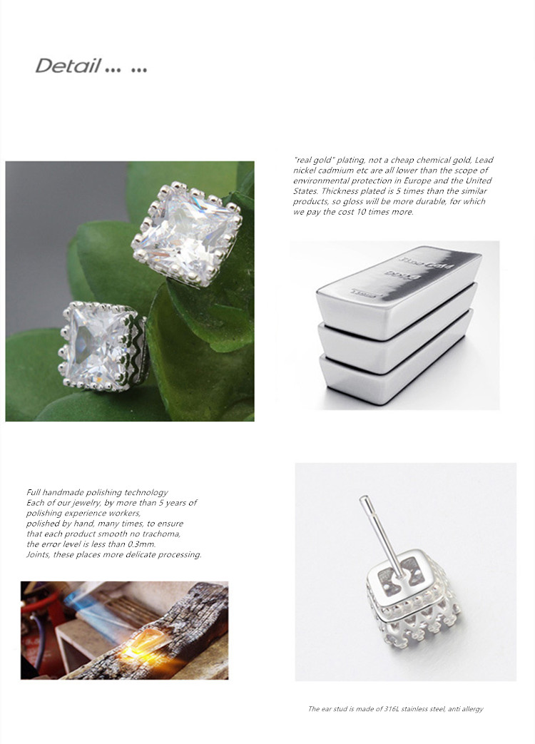 A sweet Design AAA Zircon 925 Sterling silver jewelry square stud earrings
