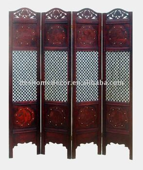 Vintage retro wood screen, antique folding screen, wood fence panels