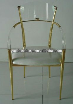 Electroplate Clear Acrylic Dining Chair with Cushion