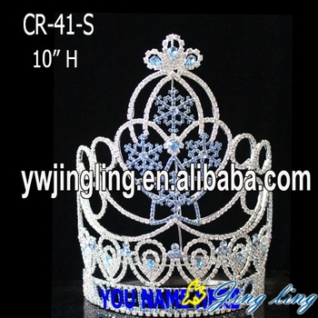 Custom rhinestone snow flake Christmas pageant crown