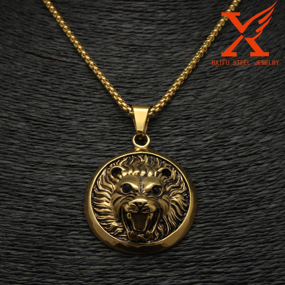 Stainless Steel Black Gold 3D Animal Lion Head With Black Eye Shape Style Pendant