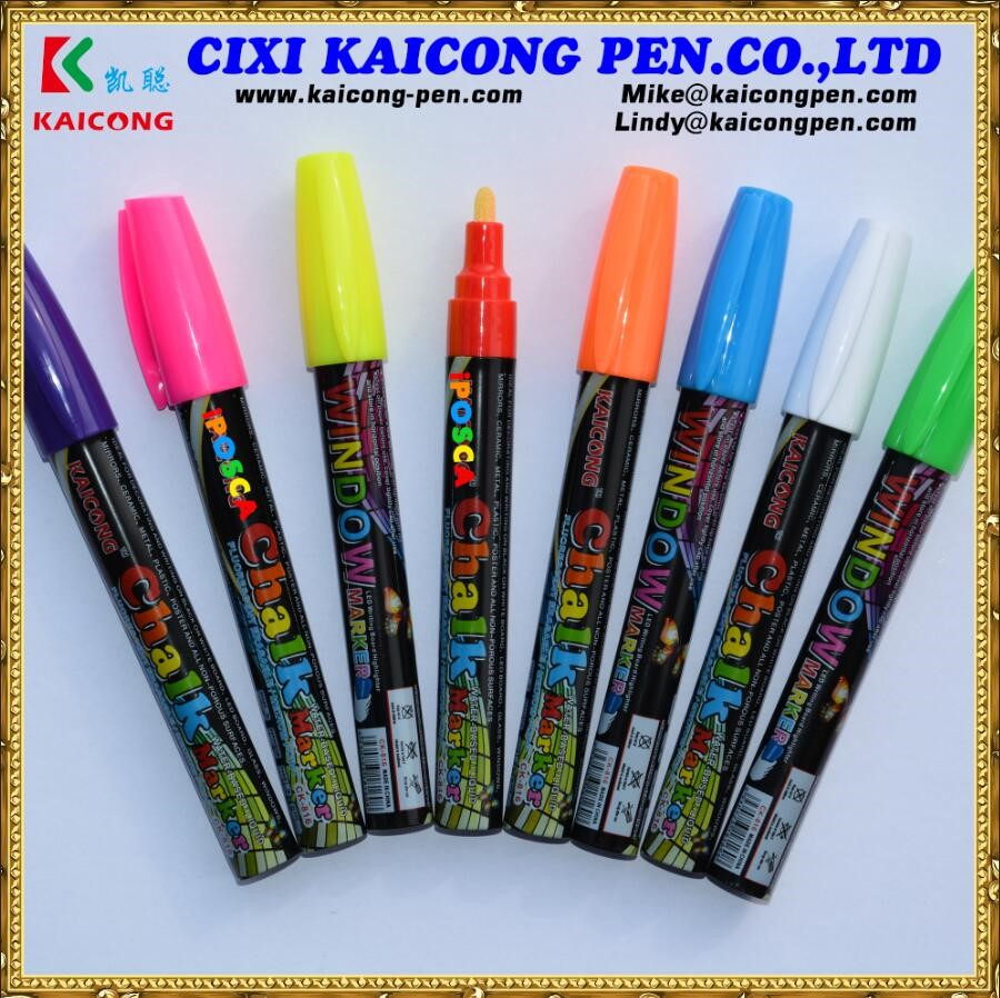 Liquid water-based 8pcs 3mm Highlighter Fluorescent Liquid Chalk Marker Pen for LED Writing Board