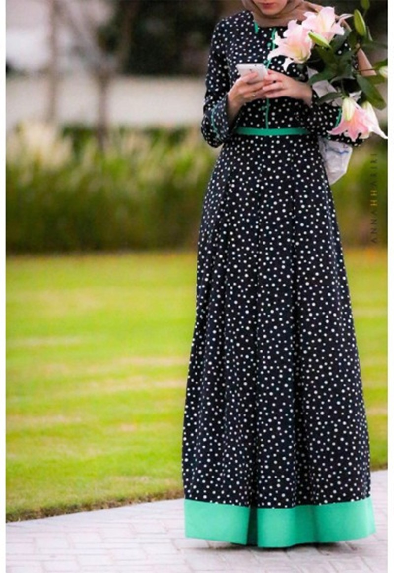 2017 New Design Wholesale Dotted Green Trim Maxi Dress