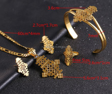 Ethiopian Jewelry Pendant Necklace Chain/Earrings/Bangle/Ring Set Coptic Crosses Gold Plated 18k African Cross Wedding Ethiopie
