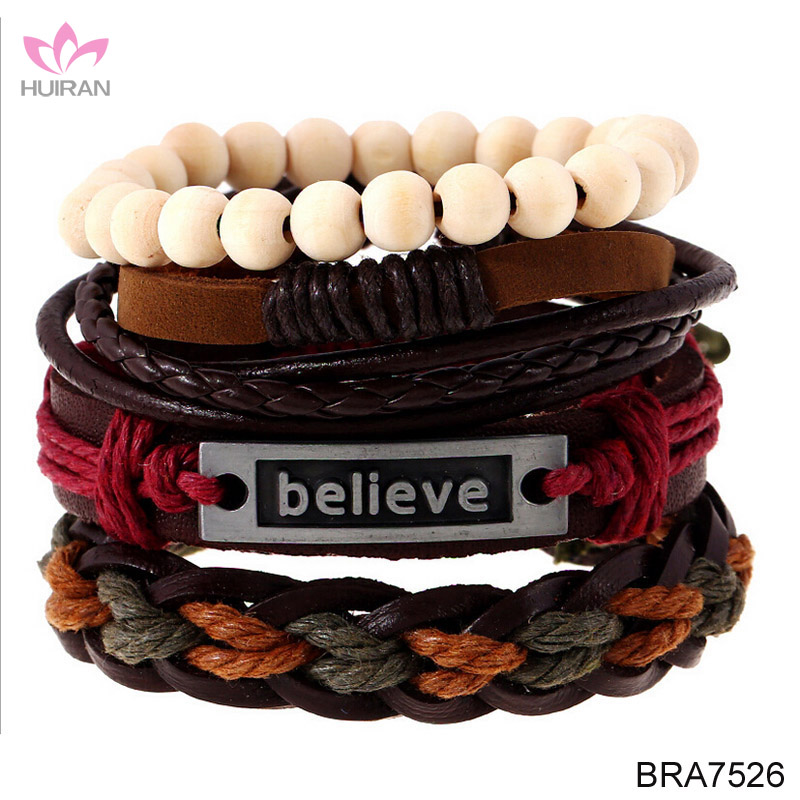 Hot Sale Multilayer Woven Leather Vintage Alloy Charm Believe Grapheme Pendant Bracelet