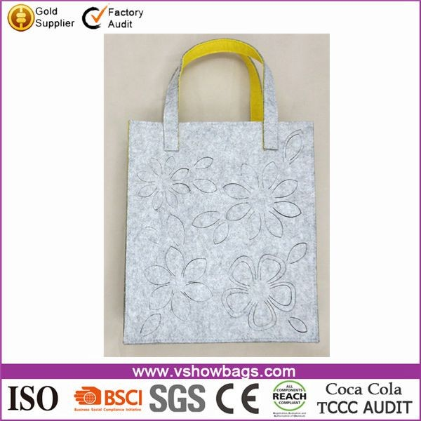 Custom blank flower printed recycling foldable felt shopping bags