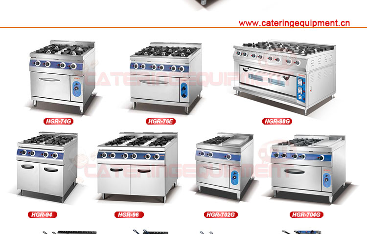 CRC-94G 4-burner stove with gas oven for commercial kitchen equipment