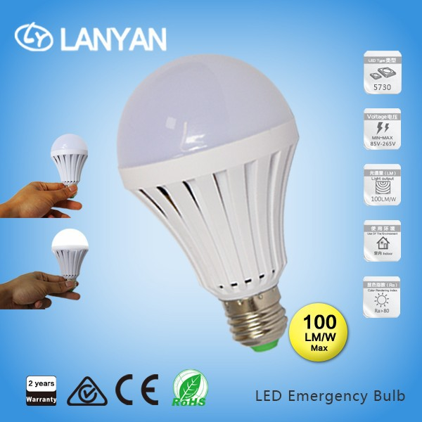 battery powered emergency battery operated led light bulb 7W rechargeable torch light ac85-265v