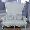 Loveseat Couch Sofa Upholstered Button Tufted Nailhead High Back Sofa White