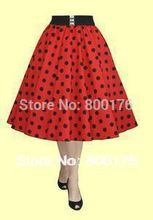 discount vintage retro 50s Inspired Rockabilly PINUP Red POLKA DOT High Waist FULL CIRCLE SWING