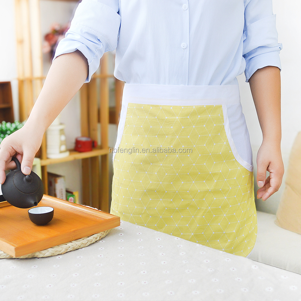 Customized Brand Chef Works Cotton Apron Bar Half Waitress Apron Kitchen