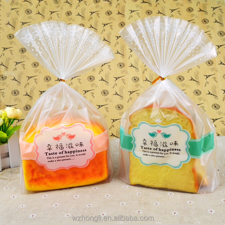 Hot sale food grade printed clear PE plastic bread packaging bag