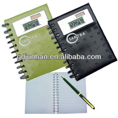 leather spiral note book with calculator