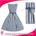 Knee Length In Fashion Vertical stripes dress to thin with belt