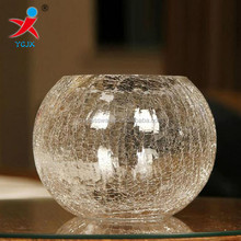 20cm round crack glass ball vase on the table