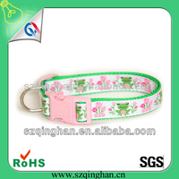 2015 Super Quality Beautiful pink embroidered pet dog collar personalized pet collar manufacturer / factory