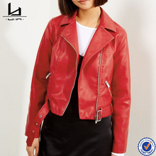 2017 fashion design short jacket coat pu red women leather jacket