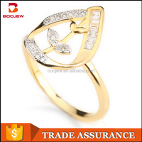 Latest new model 18k gold plated weeding jewelry 925 sterling silver engagement foot finger leaf ring