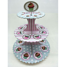 Wholesale Custom Printing Cake board paper 3-layer cake stands