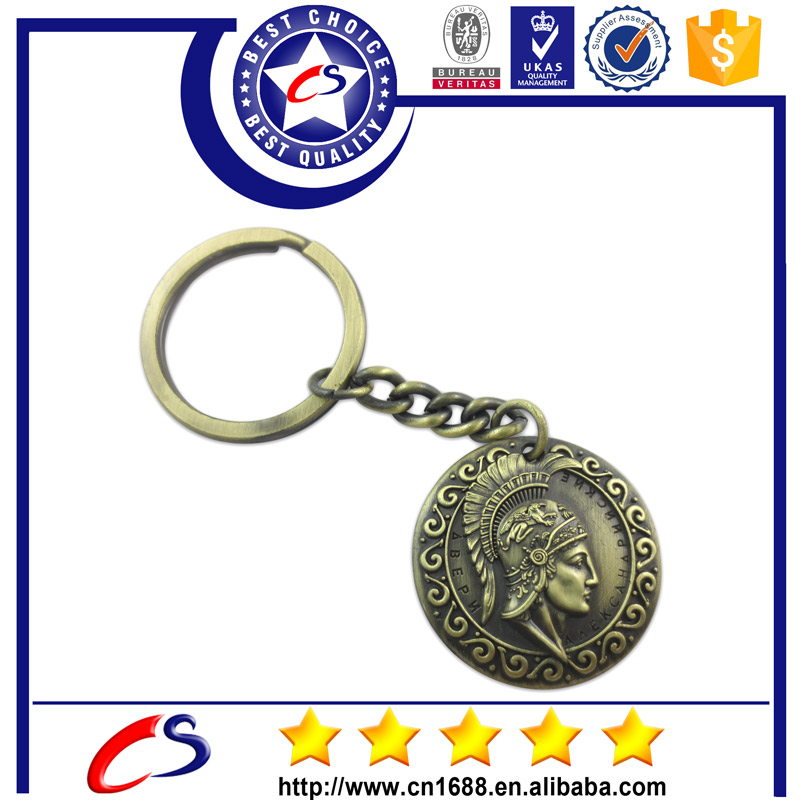 Promotion iron custom trolley coin keychain with carabiner