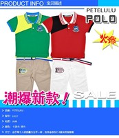 2015 Wholesale Garment Petelulu Branded Kids Clothes Summer suit Sets outdoor clothing V Neck T-shirt+Short Pant +Belty