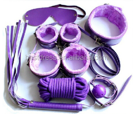 Fetish Slave party 7 Kits- Rope Ball Gag Cuffs Whip Collar mask...Sexy night toy