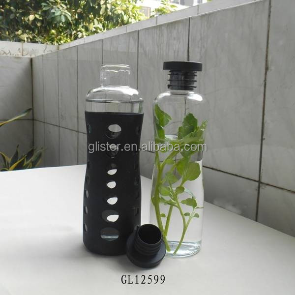 wide top opening Silicon lid glass water bottle with silicon sleeve