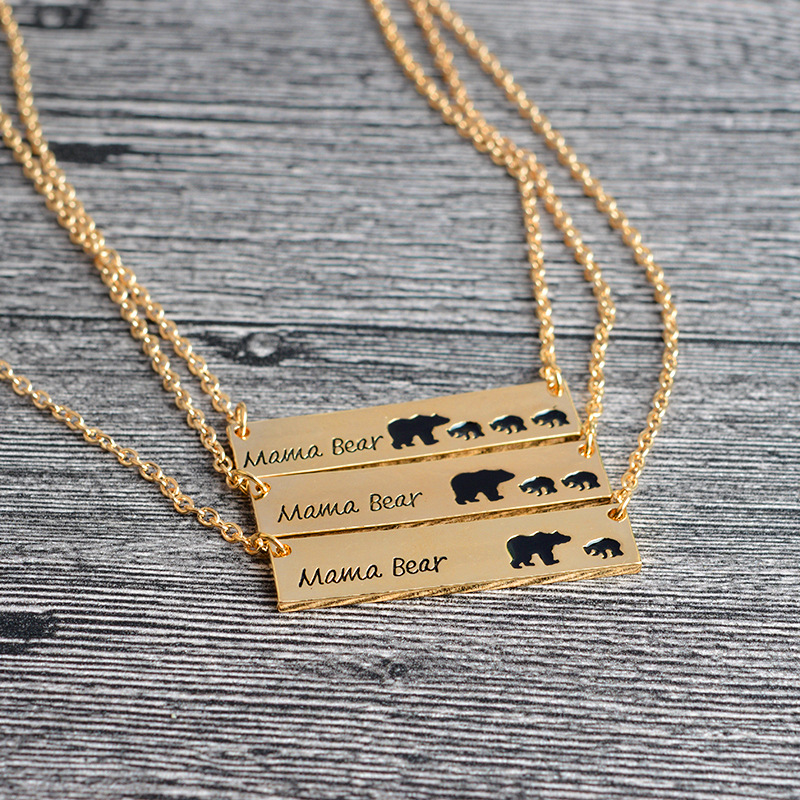 Mama Bear Tag Engraved Animal Pendant Necklace Gold Silver Mother Kids Love Necklace Children Jewelry