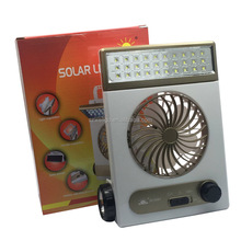 Mini solar powered outdoor fans for camping with led lamp Emergency use