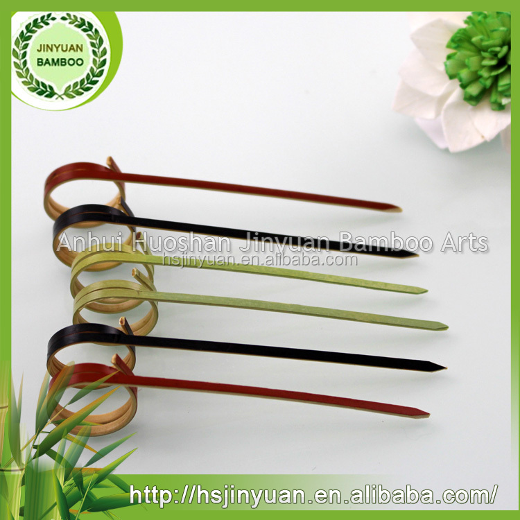 Knotted disposable bamboo fruit pick skewer stick